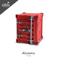 【obis】Alvarez工業風仿舊貨櫃造型小型收納櫃/置物櫃(紅/黃/黑/黑銀)