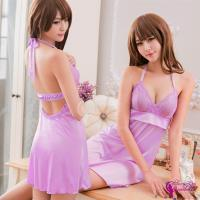 【Sexy Cynthia】性感睡衣 淺紫舒適柔緞綁脖美背睡衣