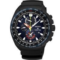 SEIKO 精工 Prospex 太陽能GMT兩地時間膠帶男錶- 炫藍(SSC551P1)