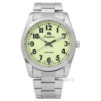 SE Sapphire / SE014M01L / 簡潔大方夜光藍寶石水晶不鏽鋼手錶 淺綠色 35mm