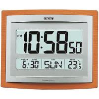 【CASIO】液晶溫度顯示木紋掛鐘/座鐘兩用-銀x咖啡 (ID-15S-5)