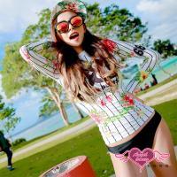 天使霓裳 泳衣 繽紛南國 二件式水母衣防曬長袖泳裝(白M~XL) SA1701
