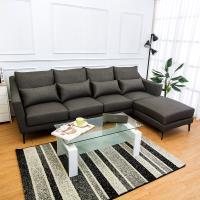 Bernice-蘭德L型灰色防潑水亞麻布沙發(四人座+腳椅)(送腰枕)