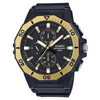 【CASIO】潛水風DIVER LOOK 旋轉式錶圈指針錶-黑X金框 (MRW-400H-9A)