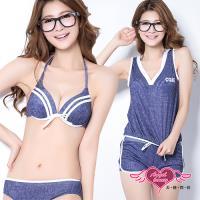 天使霓裳 甜美運動風 四件式鋼圈比基尼泳衣(藍M~XL) SQ6008-網