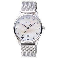 GUCCI古馳 G-Timeless 超薄米蘭帶手錶 珍珠貝 36mm YA1264040
