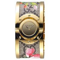 GUCCI 古馳 Twirl 花朵綻放手環錶 金 33mm YA112443