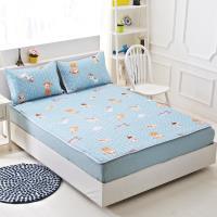 Lily Royal 天絲-單人平單式涼蓆/軟蓆枕套組-貓與少年藍
