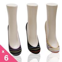 自然系幸運彩條止滑女襪套6雙組-S1305