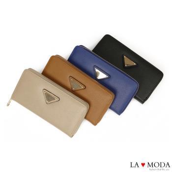 La Moda 時尚品牌Look~柔軟皮革大容量拉鍊長夾 (共4色)