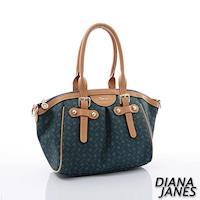 Diana Janes 經典LOGO 時尚牛皮兩用女包-湛藍
