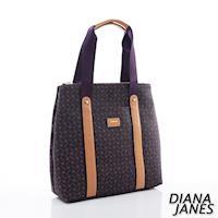 Diana Janes 經典LOGO 牛皮 肩背購物袋-紫