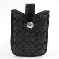 COACH 新款經典C LOGO織布皮飾邊手機套.黑