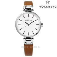 MOCKBERG / MO1404 / WERA PETITE 瑞典設計師品牌礦石玻璃防水真皮手錶 白x卡其 28mm
