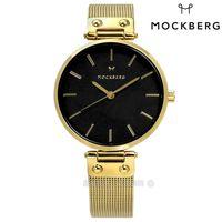 MOCKBERG / MO1603 / LIVIA NOIR 瑞典設計師品牌礦石玻璃防水米蘭編織不鏽鋼手錶 黑x鍍金 34mm