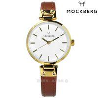 MOCKBERG / MO1403 / NORA PETITE 瑞典設計師品牌礦石玻璃防水真皮手錶 白x金框x咖啡 28mm