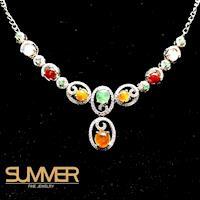 【SUMMER寶石】天然冰種緬甸三彩翡翠設計款項鍊(925銀玫瑰金 A4)