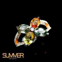 【SUMMER寶石】設計款彩色藍寶戒指(925銀玫瑰金 A19)