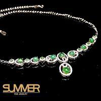 【SUMMER寶石】天然冰種緬甸翡翠設計款項鍊(925銀玫瑰金 A42)