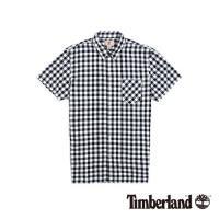 Timberland 男款深藍配白色正方格紋休閒短袖襯衫