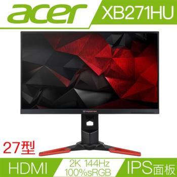 ACER宏碁 XB271HU 27型IPS面板2K解析度144Hz更新率G-SYNC電競液晶螢幕