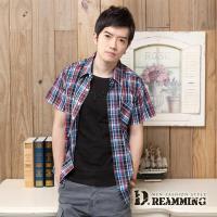 【Dreamming】格紋學院氣質純棉短袖休閒襯衫(紅藍)