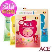 【ACE】無添加Q軟糖隨手包 超值綜合12入組(4口味各3,48g/袋)