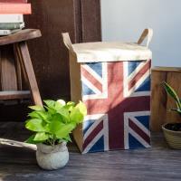 收納職人 美式復古LOFT工業風美國國旗附蓋黃麻收納整理籃/儲物盒  英國風