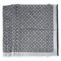 LV M71378 Monogram Denim 經典花紋羊毛絲綢披肩圍巾.黑_預購