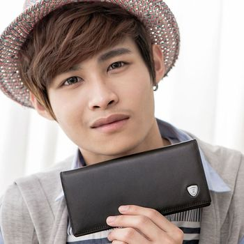 【金安德森】12卡長夾 單色優質男 典型款橫式時尚-黑色(KA-53308)