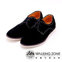WALKING ZONE 素色英倫綁帶休閒鞋 男鞋-黑(另有棕)