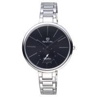 Olympia Star奧林比亞 超薄小秒針手錶 黑x銀 37mm 28031MS黑