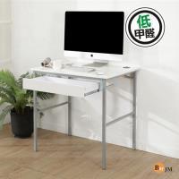 BuyJM 鏡面白低甲醛粗管抽屜工作桌/電腦桌/寬80cm