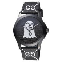 Gucci古馳 G-Timeless Ghost 小精靈雙G壓紋造型錶 黑 38mm YA1264018
