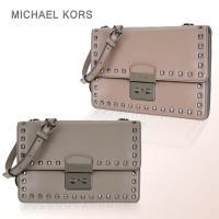 MICHAEL KORS Sloan Stud 黑鉚釘牛皮薄型三層斜背包(大/兩色選)