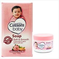 進口CUSSONS佳霜嬰兒--杏仁及玫瑰油香皂(100g)*12+面霜(50g)*3