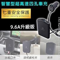 【OMyCar】智慧型超高速9.6A 四孔USB車充 手機 平板 行車紀錄器 相機皆可充
