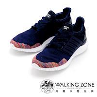 WALKING ZONE 針織透氣綁帶運動鞋 男鞋-藍(另有黑)