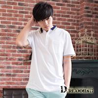 【Dreamming】百搭極簡素面口袋棉質短POLO衫(共四色)