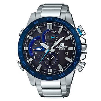 【CASIO】EDIFICE  賽車儀表鋼鐵藍芽錶-藍圈 (EQB-800DB-1A)