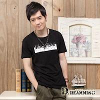 【Dreamming】立體幾何字母萊卡彈力圓領短T(黑色)