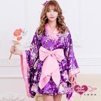 天使霓裳 角色扮演 紫花戀香 改良式日系和服浴衣(紫粉M.XL) KH73012