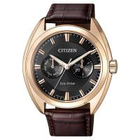 CITIZEN 星辰 Eco-Drive光動能日曆手錶 玫瑰金框x咖啡 43mm BU4018-11H
