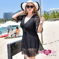 天使霓裳  泳衣 名媛公主 大尺碼一件式蕾絲連身泳裝(黑3L~6L) SQD67