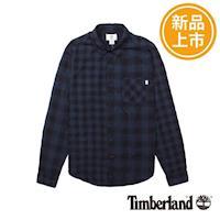 Timberland男款深藍色格紋修身長袖襯衫A1MCR