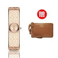 【COACH】經典logo晚宴腕錶 玫瑰金 贈COACH時尚經典手拿包