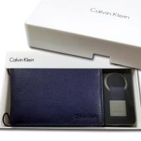 CK 男皮夾【美國進口現貨】Calvin Klein 高級牛皮 多卡夾功能+CK鑰匙圈 男用 新款禮盒組/深藍色