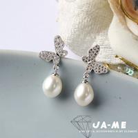 JA-ME完美皮光天然珍珠福蝶耳環