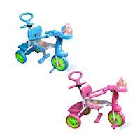 【MIT 精選童車】玩偶IC手控三輪車 (藍)(粉) E511