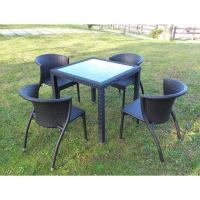 兄弟牌80cm鋁製膠藤方桌1張+凡賽斯鋁合金膠藤椅4張